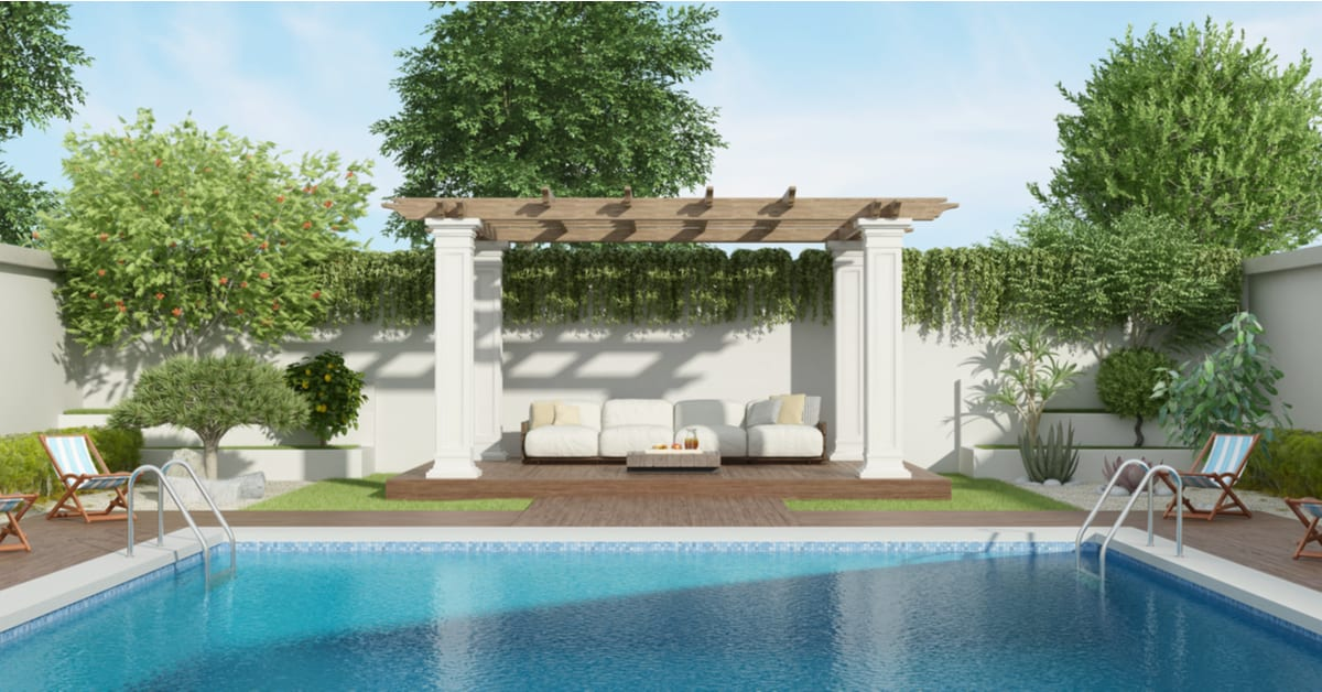 Bee Cave TX Poolside Pergola With Deck Ideas   IES Pools